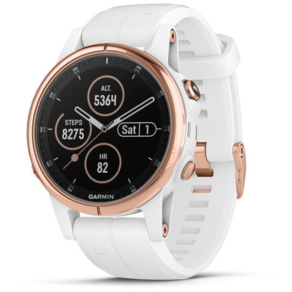 Спортивные часы Garmin Fenix 5S Plus Sapphire Rose Gold with White Band (010-01987-07)