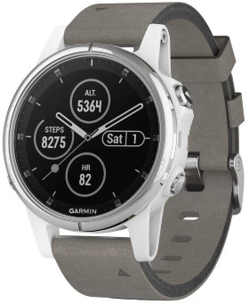 Спортивные часы Garmin Fenix 5S Plus Sapphire White with Grey Suede Band (010-01987-05)