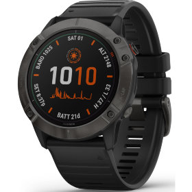 Спортивные часы Garmin Fenix 6X Pro Solar Titanium Carbon Grey DLC with Black Band (010-02157-21)
