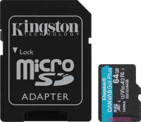 Kingston 64 GB microSDXC class 10 UHS-I U3 Canvas Go! Plus + SD Adapter (SDCG3/64GB)