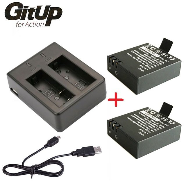 Набор GitUp Batteries with Dual-slot Charger for GitUp 2