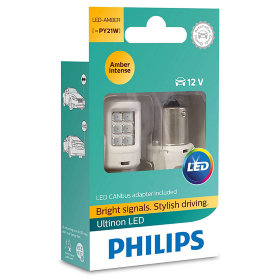 Лампа светодиодная Philips P21W Yellow + smart Canbus Ultinon (11498ULAX2)