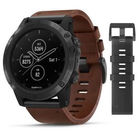 Спортивные часы Garmin Fenix 5X Plus Sapphire Slate Grey with Brown Leather Band (010-01989-03)
