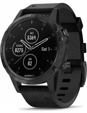Спортивные часы Garmin Fenix 5 Plus Sapphire Black with Leather Band (010-01988-07)