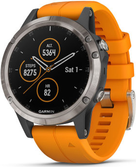 Спортивные часы Garmin Fenix 5 Plus Sapphire Titanium with Solar Flare Orange Band (010-01988-05)